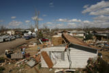 MJM549 Damaged homes in Holly, Colo. Thursday afternoon.  A tornado damaged and destroyed...