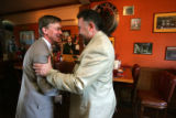 Denver Mayor John Hickenlooper meets with his challenger Danny Lopez, right, for lunch at Pints...