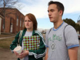 L to R: Brother and sister Abby Hefferman (cq) ,18, and Bill Hefferman (cq) ,15, talk about fellow...