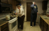 Dottie Kerr and her son Will get coffee going in the morning before she goes to work on Thursday,...
