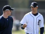 Detroit Tigers pitchers Jeremy Bonderman, left, and Kyle Sleeth talk during Tiger Spring Training ...