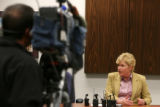 District Attorney Carol Chambers discusses the decision, Thursday Mar. 15, 2007 during a press...