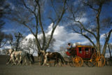 A replica of a 1800's stagecoach shuttles attendees to and from the events at the Event Center in...