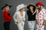 In spring hats, left to right:  Jackie Rotole (cq), June Singer Dreibholz (Cq), Cindi Burge (cq),...