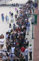 A long line of ticket buyers stretches from Coors Field in Denver, Colo. prior to the Colorado...