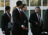 MJM341 Former CEO of Qwest, Joseph Nacchio, second from right,  arrives at Federal Court Monday...