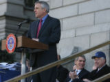 State governor, Bill Ritter speaks at a press conference held on the west steps of the Capitol...