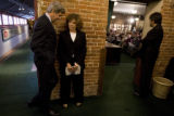 DLM8563  Sen. John Kerry waits with his wife,Teresa Heinz Kerry, to be introduced before a...