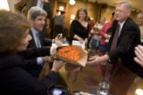 DLM8569  Scott Sloan, 47, of Denver gives a bouquet of flowers to Teresa Heinz Kerry as she and...