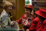 DLM9129  Laughs are bipartisan as Rep. Cherilyn Peniston, D-Westminster, far left, visits with...
