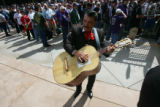 Mariachi Gildo Cabral (cq) warms up as crowds headed in to Coors Field in Denver, Colo. prior to...
