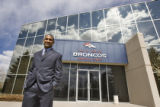 DLM3829  The Denver Broncos' new cornerback Dre' Bly poses for a photograph after talking with...