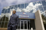 DLM3830  The Denver Broncos' new cornerback Dre' Bly poses for a photograph after talking with...