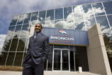 DLM3831  The Denver Broncos' new cornerback Dre' Bly poses for a photograph after talking with...