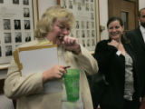 Senator Betty Boyd (D) jokes around after her bill passed in committee at the State Capitol in...