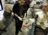 Colorado State Representative Larry Liston (cq), R-District 16,  gave blood with the help of...