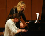 Pianist Mona Golabek, top, works with student Joanna French, 16 year old junior, Tuesday afternoon...