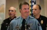 Adams Ct Sheriff Douglas Darr is all smiles as he answers questions from the media at the Federal...