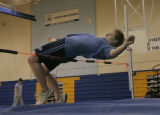 Senior Joy Nameth practises her high jump during track practise at North Park High School, Walden,...