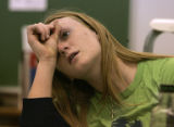 Senior Joy Nameth, 18 figures out a calculus problem in class at North Park High School, Walden,...