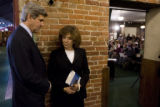 DLM8564  Sen. John Kerry waits with his wife,Teresa Heinz Kerry, to be introduced before a...