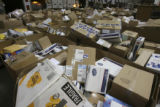 Overview of boxes in waiting. The Denver Bulk Mail Center, 7755 East 56th Avenue, Denver, Colo.,...