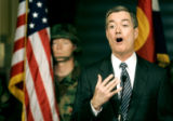 (DENVER, Co. - SHOT 3/28/2005) Governor Bill Owens speaks during a press conference Monday in the...