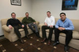 left to right, Cole Sanchez, Matt Mathias, Dave Conder, Derick Viarrial all in a comfy area of the...