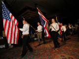 National Western scholarship recipients parade into the ballroom to start the program. (STEVE...
