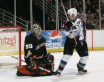 ANA103 - Anaheim Ducks goalie Ilya Bryzgalov, of Russia, and Colorado Avalanche's Ian Laperriere...