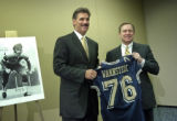 Matt Freed/Post-Gazette  Dave Wannstedt poses with Pitt Athletic Director Jeff Long at the Sports...