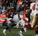 [JPM0118] In the first quarter,  Denver Broncos cornerback Darrent Williams (27) returns a punt as...