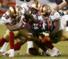 Tatum Bell fumbles the ball in the fourth quarter of the Denver Broncos against the San Francisco...