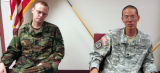 Staff  Sgt. James Eberhard  (cq) left, a career soldier, speaks about the PTSD that has...