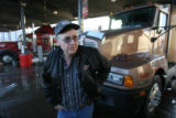 (DLM2077) - Trucker Jack Doyle, 52, of Pueblo fills up his truck at Sapp Bros. Food and Fuel in...