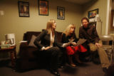 "Singer Rickie Lee Jones, center, rehearses her song, ""Elvis Cadillac"" backstage with..."