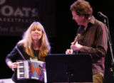 Etown co-host Nick Forster plays with singer Rickie Lee Jones during a taping of  etown at the...