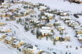 Snow covered homes in a neighborhood near Castle Rock. Aerial photographs along the I-25 corridor...