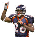 (RMN821) - Denver Broncos Tatum Bell, #26, celebrates his 2-yard touchdown run against the Oakland...