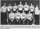 Scanned photo of Fred Wegner with his basketball team the Huskies from the 1981 yearbook titled...