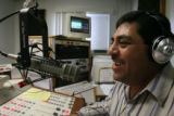 (DLM5544) -   Francisco Lozano, known as Pancho del Rancho on the air, broadcasts during the...