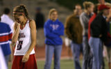 Kent Denver's Danielle Caldwell weeps after her team lost to Cherry Creek High School during the...
