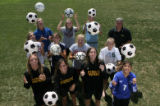 2006 All-Colorado girls soccer team members (front row l-r) Suzanne Sittko (cq), 18, Arapahoe High...