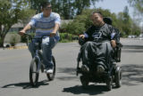 "Pete ""Petey"" Garcia (cq) right, and his friend Angel Bailon (cq)  ride two miles to..."