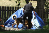 Littleton Deputy Fire Marshal Rick Young (cq) works Chester (cq), an arson dog, at the backyard of...