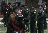 "Shelly Wheeldon, Pikes Peak Highlanders, plays bagpipes song, ""Amazing Grace"", as she..."