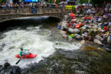 Ben Guska (cq, bottom left), 20, of Glenwood Springs tries to make it into the top ten of the...