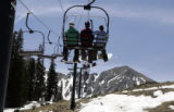 Skiers ride the  Exhibition lift for the last day of the season as the ski season comes to an end...