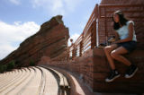 Cory Feder (cq), 12, of Denver, looks at the view at Red Rocks Amphitheater and Park, near...