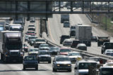 Westbound traffic on I-70 is backed up at the Colorado Boulevard exit this morning Thursday, June...